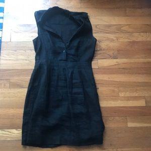 Theory black linen dress